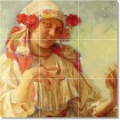 Mucha Women Kitchen Mural Wall Tiles Backsplash Art Residential
