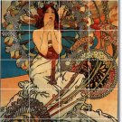 Mucha Poster Art Tiles Wall Kitchen Home Decorating Traditional
