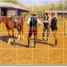 Remington Horses Tile Room Mural Dining House Remodeling Ideas