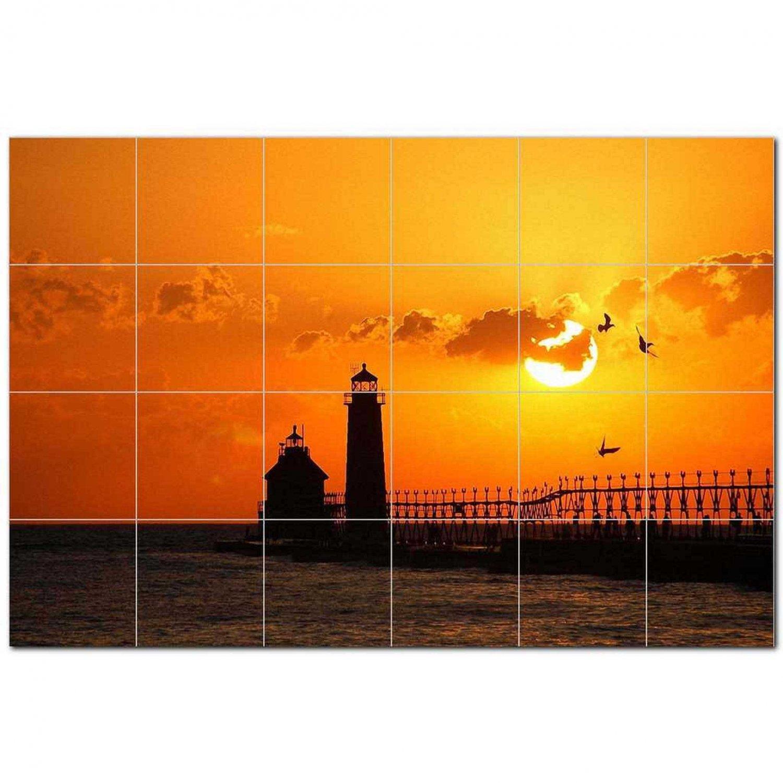 Lighthouse Photo Ceramic Tile Mural Kitchen Backsplash Bathroom Shower 405436