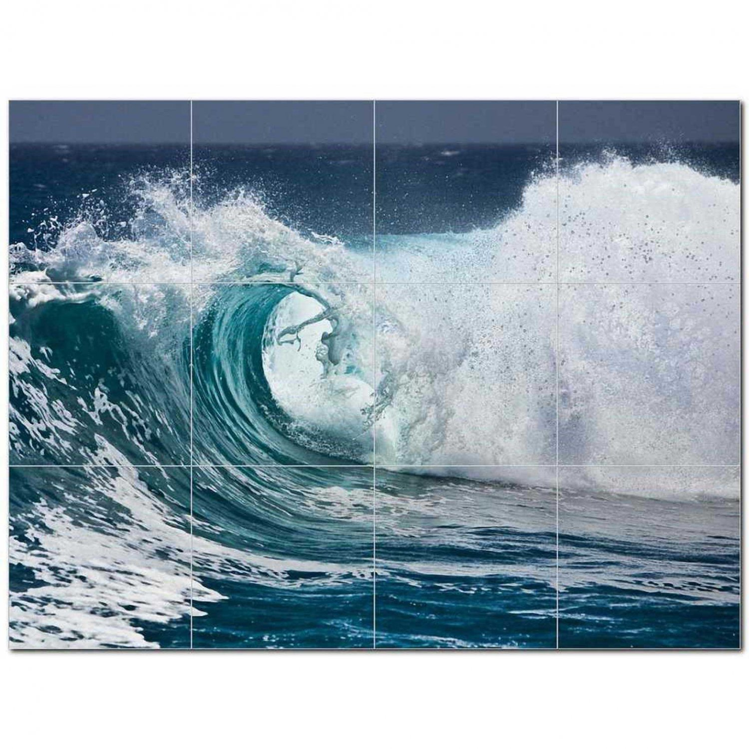 Wave Picture Ceramic Tile Mural Kitchen Backsplash Bathroom Shower 406299