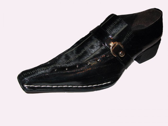 New Fiesso Black Pony Hair Leather Shoe w/Side Buckle SZ 9