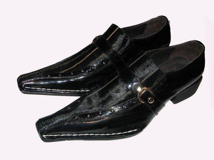 New Fiesso Black Pony Hair Leather Shoe w/Side Buckle SZ 11