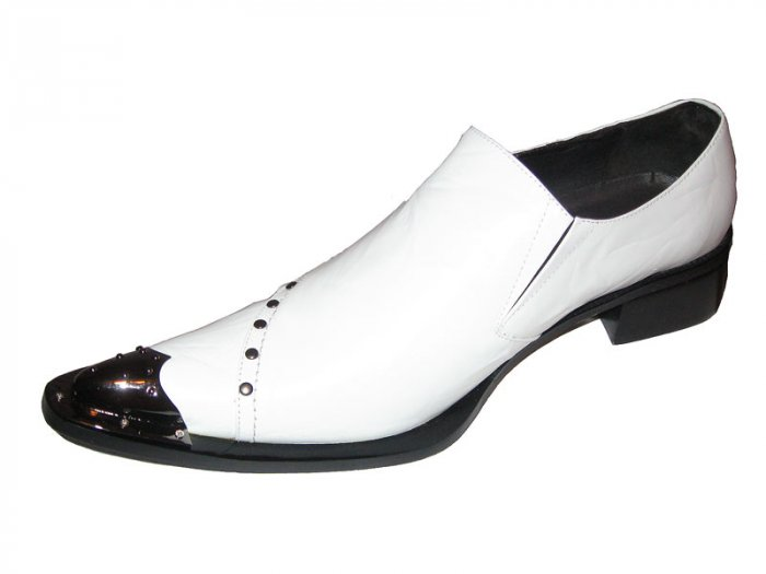 New Fiesso Metal Tip Pointed Toe Leather Shoe White Size 13