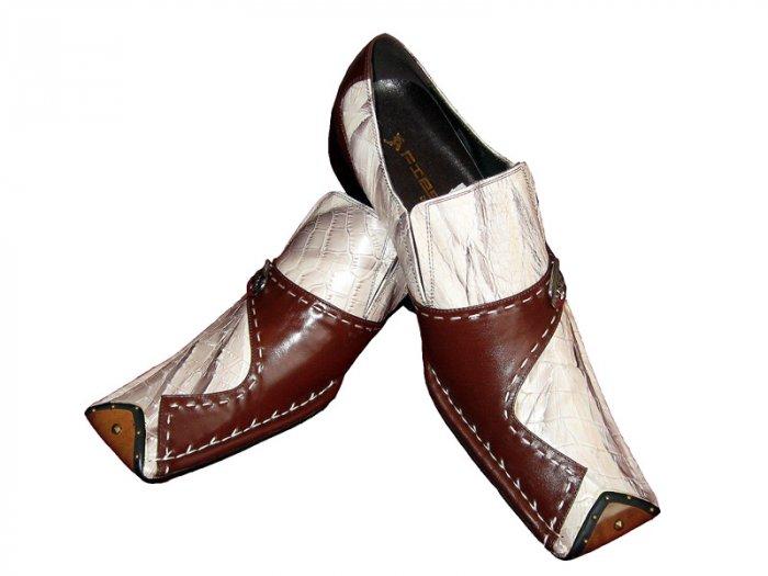 New Fiesso Crocodile print Shoe w/ Buckle (Brn/Cream) Size 11