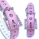 Pink/Pink Swarovski Crystal Collar Dog Puppy XS-XL Leather