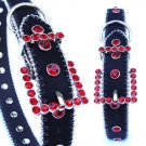 Black/Ruby Red Swarovski Crystal Dog Collar XS-XL Leather