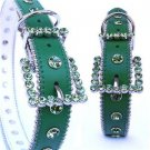 Green/Green Swarovski Crystal Collar Dog Puppy XS-X-LG