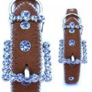 Sky Blue Swarovski Crystal Dog Collar Horsehair Leather XS-XL