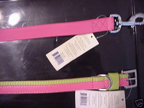 """Pink Green Dog Collar & Matching Leash  Large Dog 19""""-  22"""""""