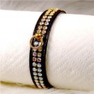 Dog Collar Jeweled Black Gold Red Small -X-LARGE