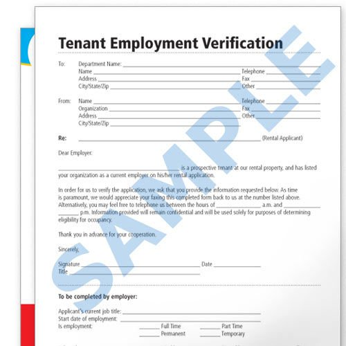 Tenant Employment Verification Forms