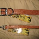 "Dog Leash & Matching 22"" Collar Large New Brown Leather"