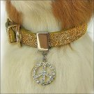 Twinkle Collar Gold-Peace in Circle Leather S-XXL