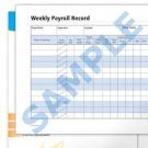 Weekly Payroll Record Blank Forms