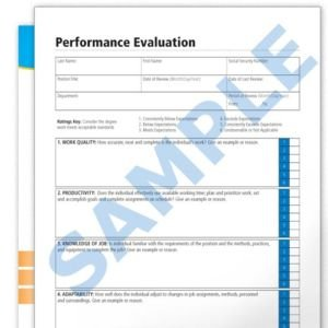 Performance Evaluation Blank Forms Employee