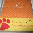 New Pet Announcements 8 Cards , 8  Envelopes Dog Cat Etc