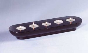 Wood Candleholder with Tealights