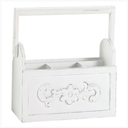 Distressed White Wood Caddy