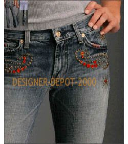 SEVEN 7 FOR ALL MANKIND MAN KIND 4 GREAT CHINA WALL STYLE RED CRYSTAL JEANS TRENDY SWAROVSKI