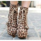 Punk Rock Brown Leopard BUCKLE BOOTS A9