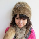 Lady's knitted with real rabbit fur hat/ cap