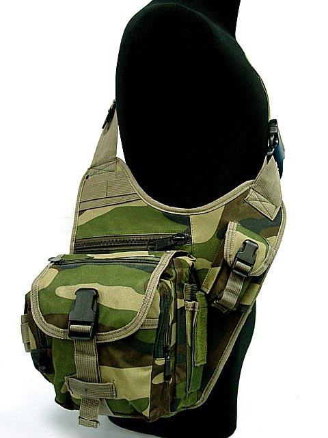 Tactical SWAT Utility Shoulder Bag Pouch Camo Woodland