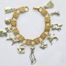 Vintage Gold Tone Silver Tone Cat Dog Charm Bracelet