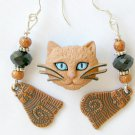 Brown Acrylic Siamese Cat Pin Black Crystal Tabby Charm Earrings Pendant Set