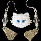 White Acrylic Persian Cat Pin Crystal Charm Tabby Earrings Pendant Set