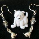 Light Gray Acrylic Dog Pin Smoky Crystal Charm Earrings Pendant Set