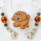 Brown Acrylic Dog Sad Eyes Pin Bead Charm Earrings Pendant Set