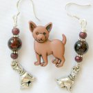 Brown Acrylic Chihuahua Dog Pin Crackle Bead Charm Earrings Set
