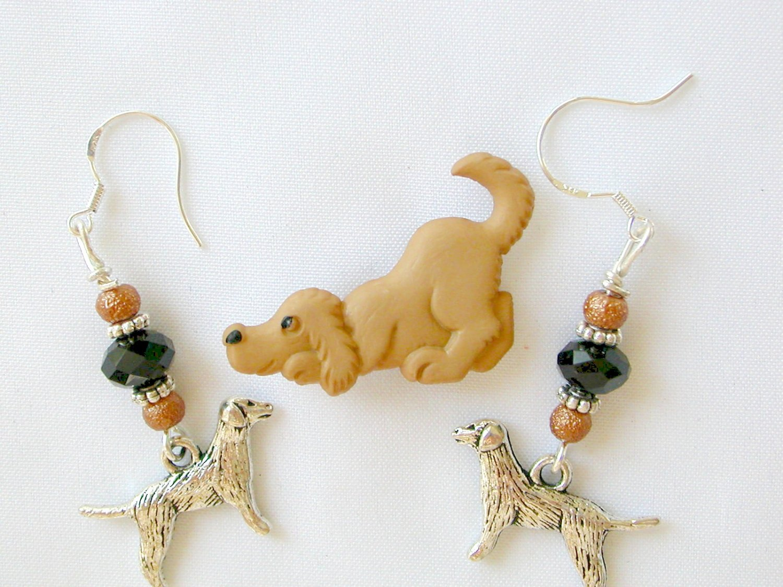Brown Acrylic Dog Pin Black Crystal Bead Charm Earrings Pendant Set