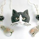 Black White Tuxedo Acrylic Cat Pin Crystal Charm Earrings Pendant Set