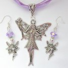 Fairy Holding a Wand Charm Pendant Organza Purple Necklace and Crystal Earrings