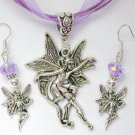 Fairy Dancing Charm Pendant Purple Organza Necklace and Crystal Earrings