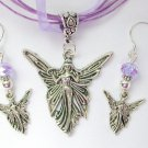 Angel Charm Pendant Purple Oraganza Ribbon Necklace and Crystal Earrings