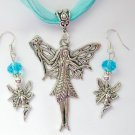 Fairy with a Wand Charm Pendant Aqua Organza Necklace and Crystal Earrings