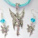 Fairy Posing Charm Pendant Aqua Organza Necklace and Crystal Earrings