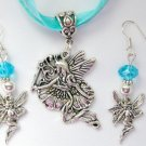 Fairy Flying Charm Pendant Organza Aqua Necklace and Crystal Earrings