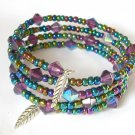 AB Iridescent Rainbow Purple Bead Memory Wire Wrap Bracelet