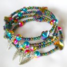 Carnival Rainbow AB Flower Glass Bead Bangle Bracelet Lot