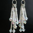Clear Iridescent Crystal and Bugle Seed Bead Dangle Earrings