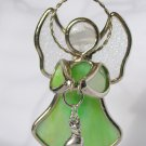 Stained Glass Ganz Green Angel Ornament Sun Catcher Sitting  Dog Charm