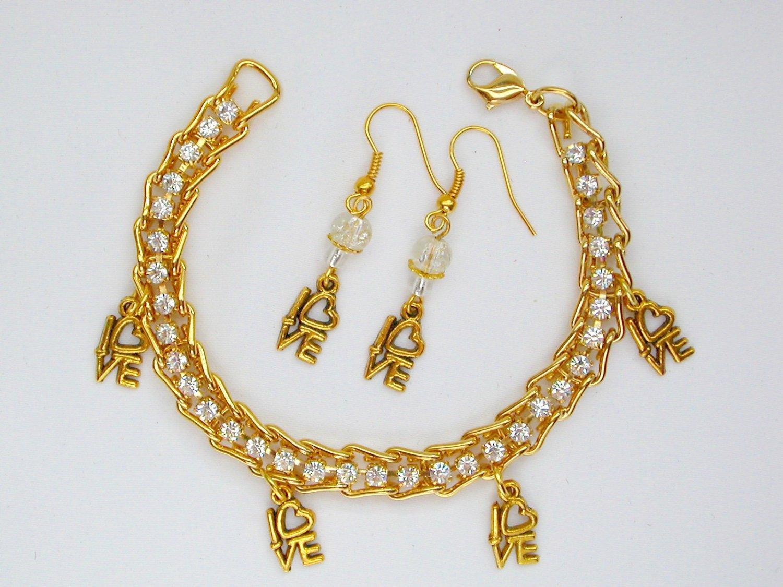 Love Charm Rhinestone Gold Tone Tennis Bracelet Earrings Set