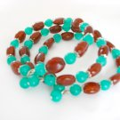 Teal Green and Cocoa Brown Bead Bangle Bracelet Lot of 3