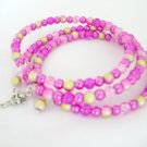 Pink Touch of Yellow Glass Bead Fairy Charm Bangle Bracelet Lot