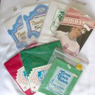 NIP counted cross stitch red green white fabric 11 14 18 lot and Born to Shop kit