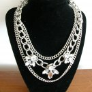 NWT etc! silver clear rhinestone large chain 3 strand biker necklace